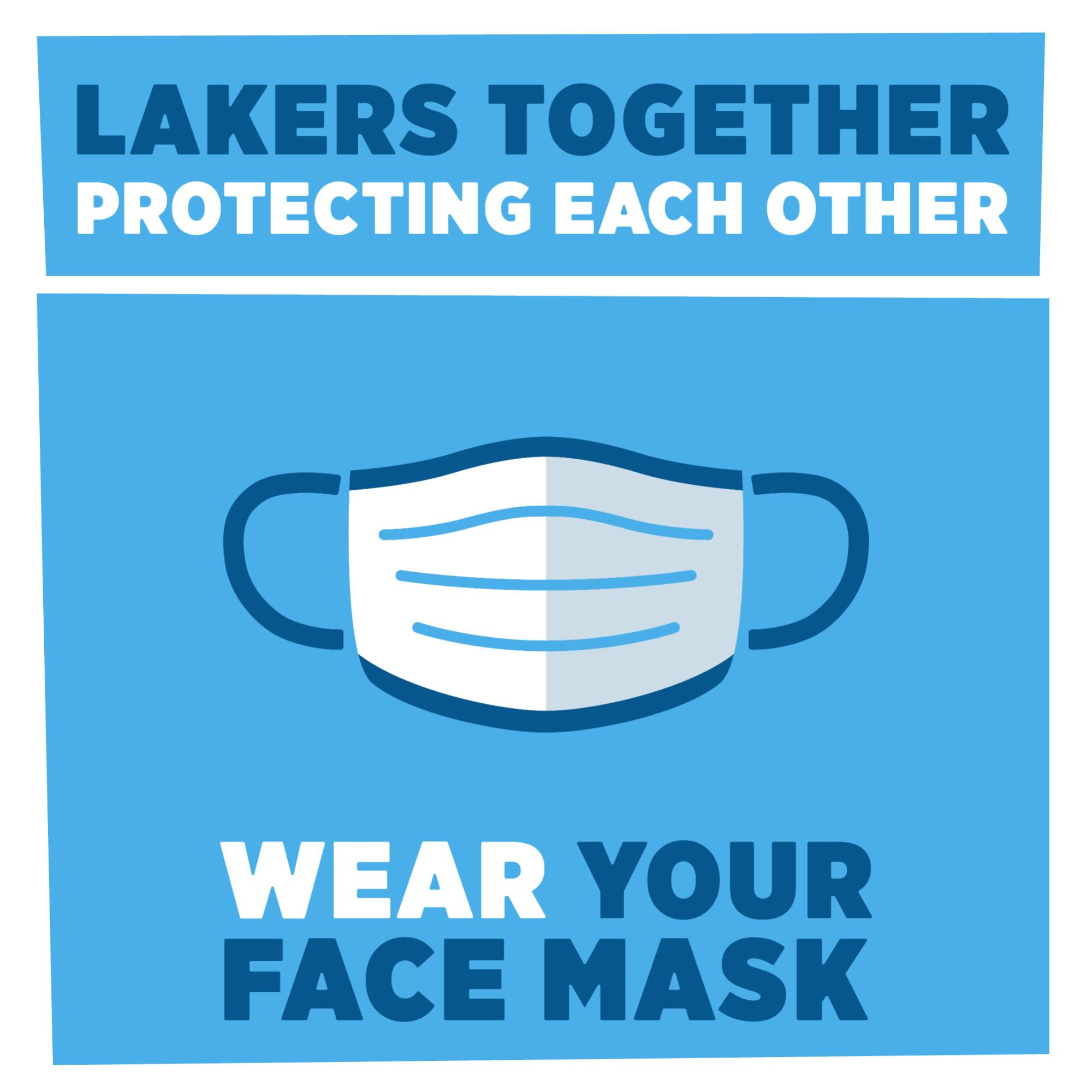 A graphic that says wear a face covering.